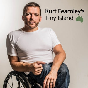 The Kurt Fearnley's Tiny Island podcast logo, with the text beside an image of a man in a t-shirt and jeans sitting in a wheelchair.